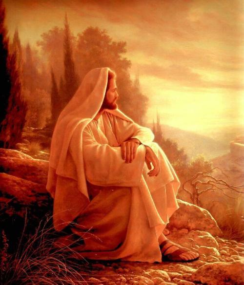 Jesus orando en el monte de los olivos